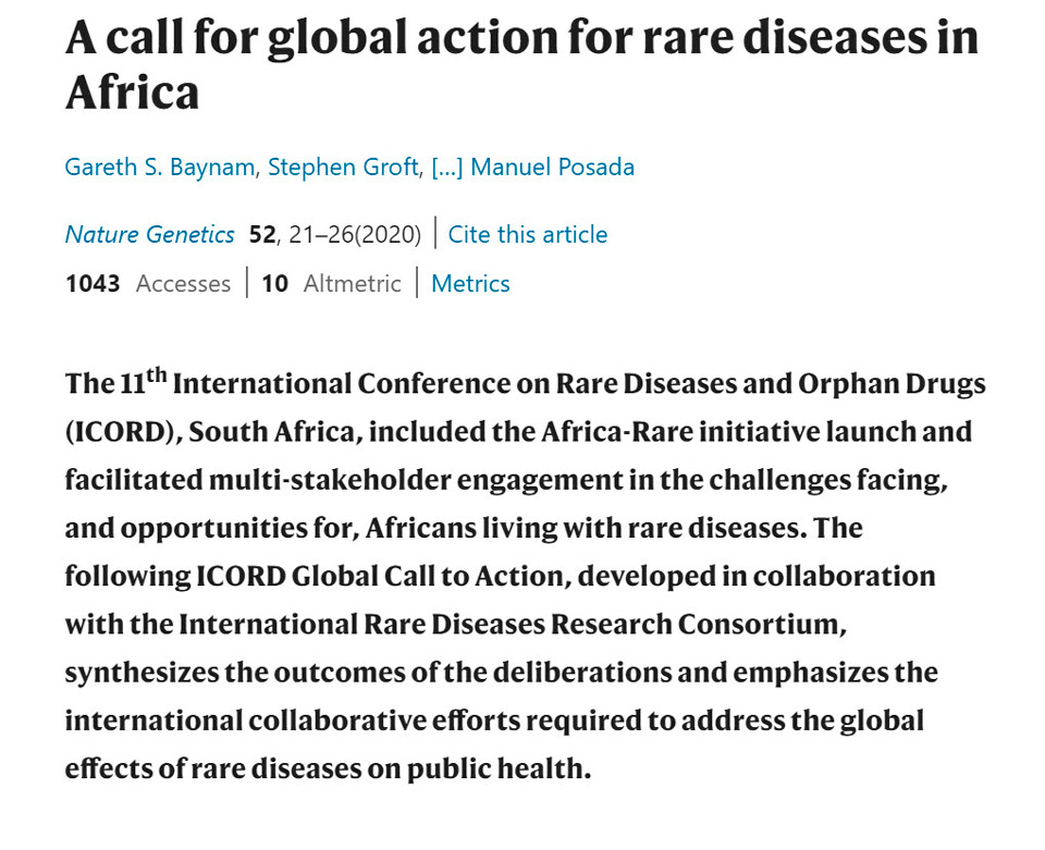 A call for global action for rare diseases in Africa